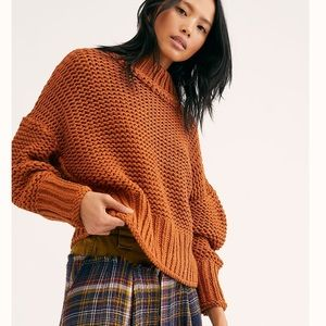 """NWT Free People """"My Only Sunshine"""" Brown Sweater"""